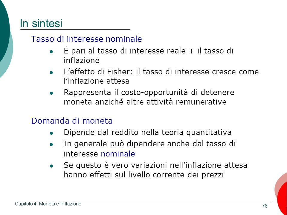 In sintesi Tasso di interesse nominale Domanda di moneta