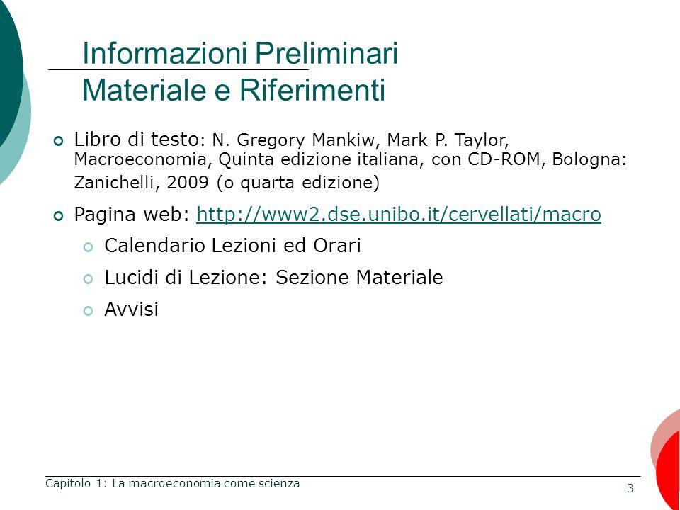 Informazioni Preliminari Materiale e Riferimenti