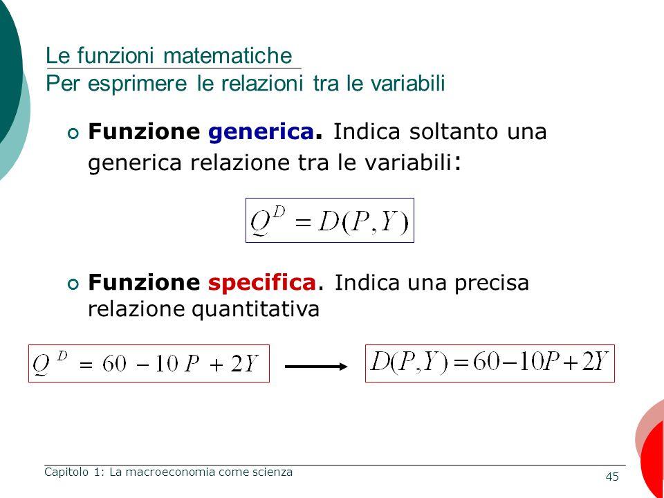 Le funzioni matematiche Per esprimere le relazioni tra le variabili
