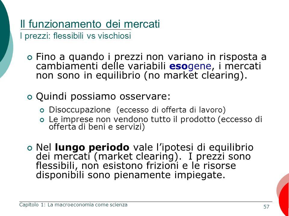 Il funzionamento dei mercati I prezzi: flessibili vs vischiosi