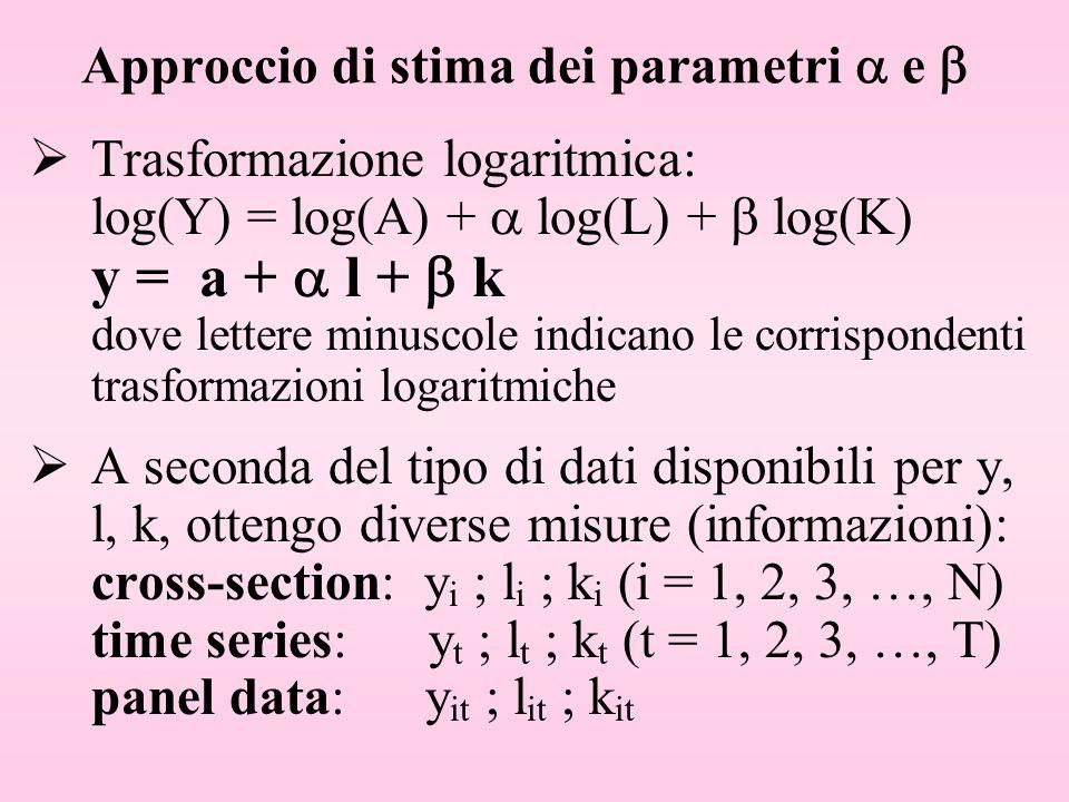 Approccio di stima dei parametri  e 