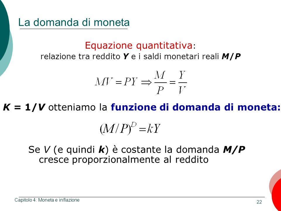 La domanda di moneta Equazione quantitativa: