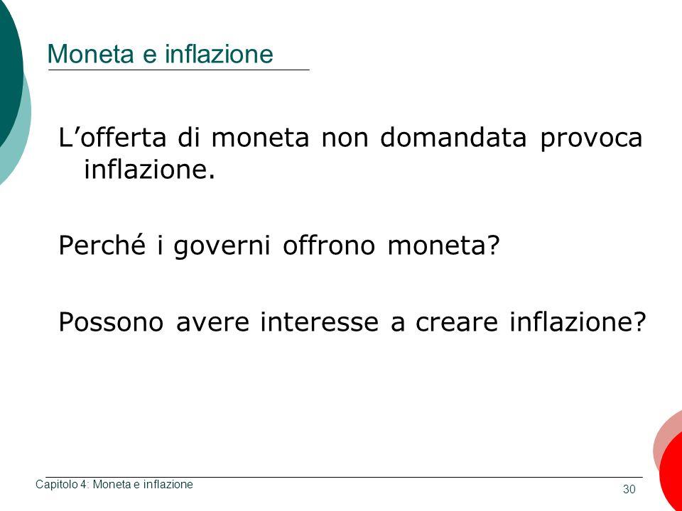 L'offerta di moneta non domandata provoca inflazione.