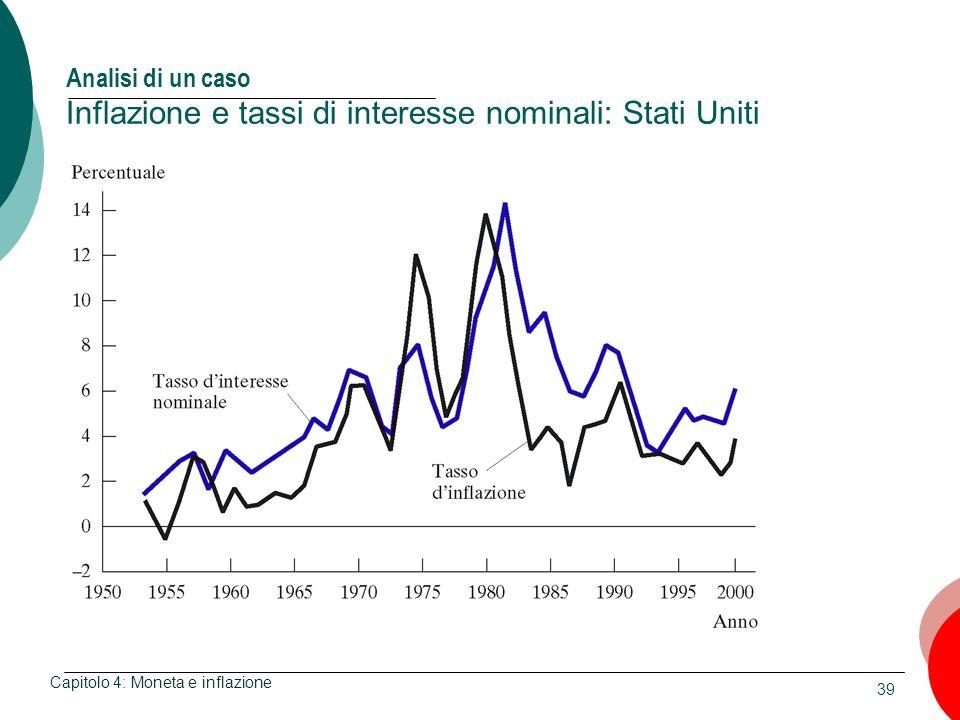 Analisi di un caso Inflazione e tassi di interesse nominali: Stati Uniti