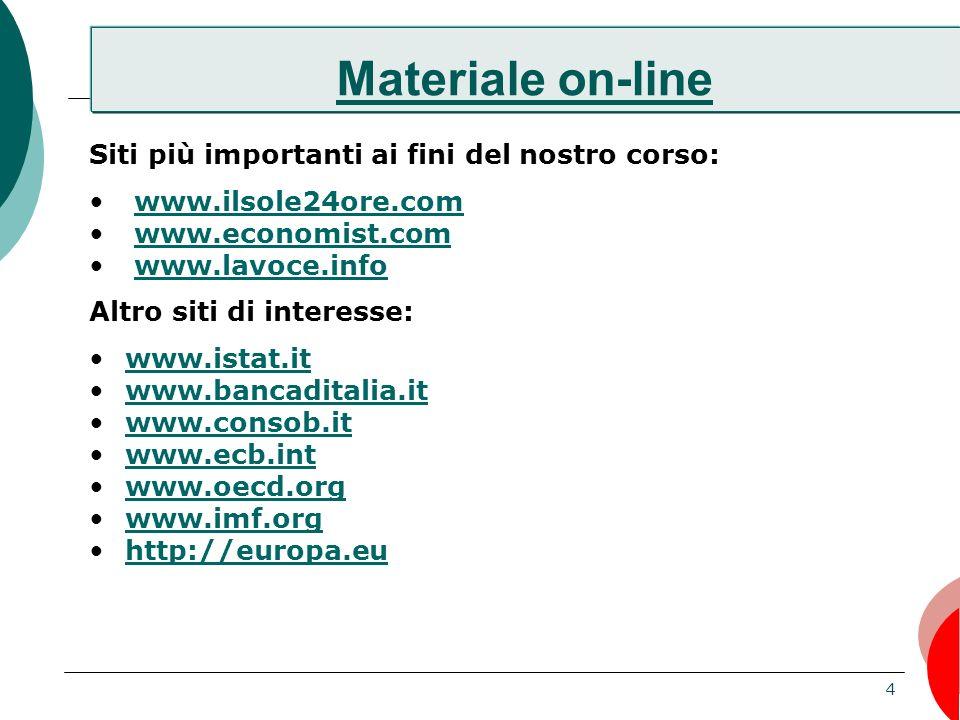 Materiale on-line Siti più importanti ai fini del nostro corso: