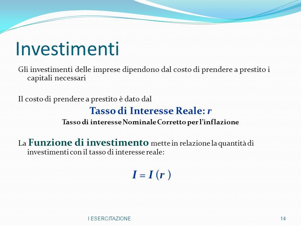 Investimenti I = I (r ) Tasso di Interesse Reale: r