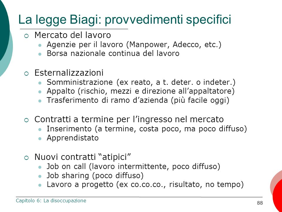 La legge Biagi: provvedimenti specifici