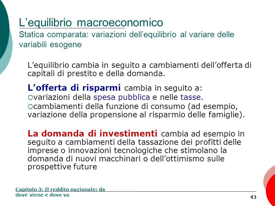 L'equilibrio macroeconomico Statica comparata: variazioni dell'equilibrio al variare delle variabili esogene