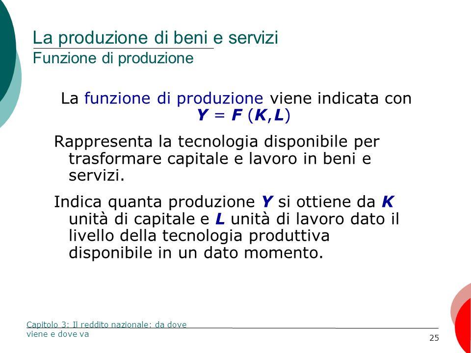 La produzione di beni e servizi Funzione di produzione