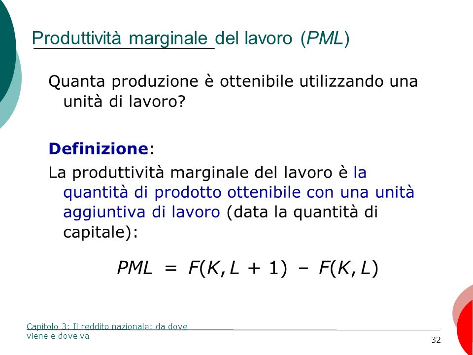 Produttività marginale del lavoro (PML)
