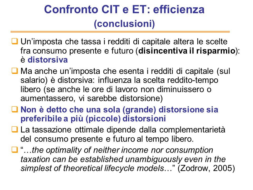 Confronto CIT e ET: efficienza (conclusioni)