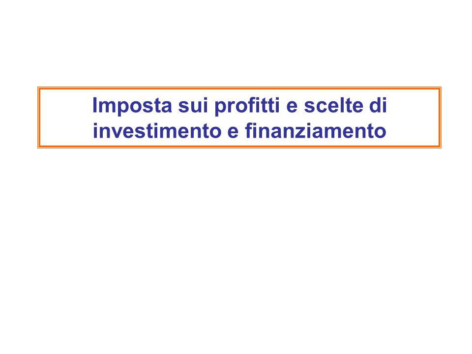 Imposta sui profitti e scelte di investimento e finanziamento