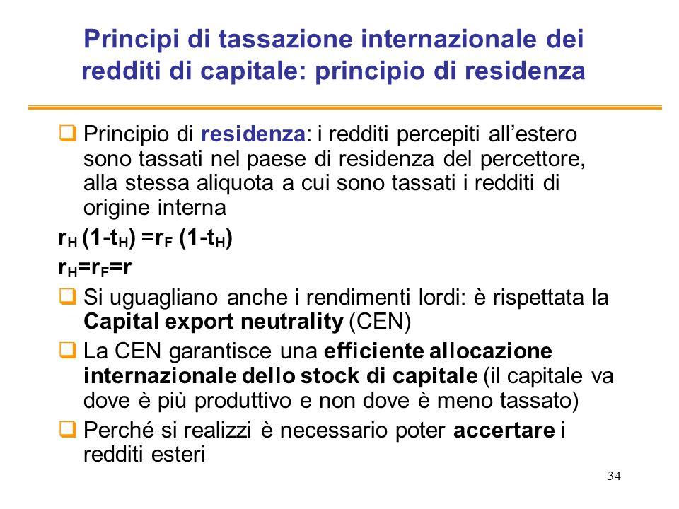 Principi di tassazione internazionale dei redditi di capitale: principio di residenza