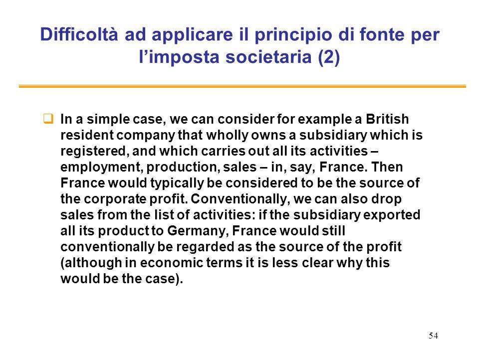Difficoltà ad applicare il principio di fonte per l'imposta societaria (2)