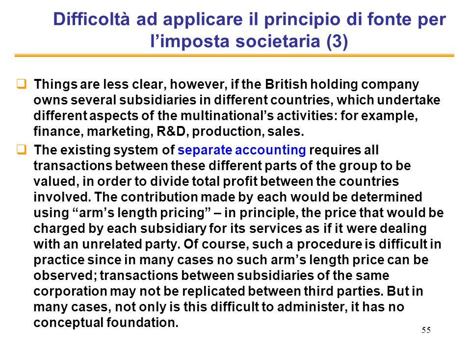Difficoltà ad applicare il principio di fonte per l'imposta societaria (3)