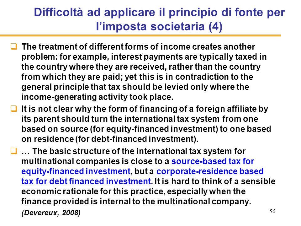 Difficoltà ad applicare il principio di fonte per l'imposta societaria (4)