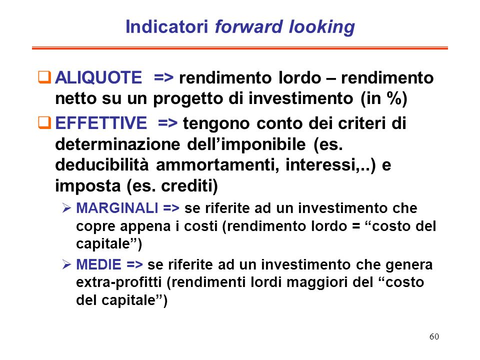 Indicatori forward looking