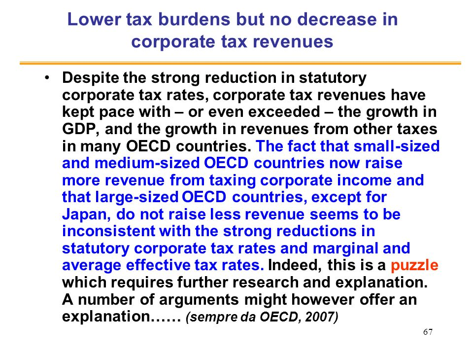 Lower tax burdens but no decrease in corporate tax revenues