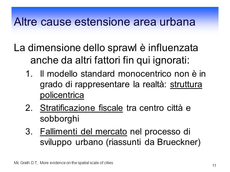 Altre cause estensione area urbana