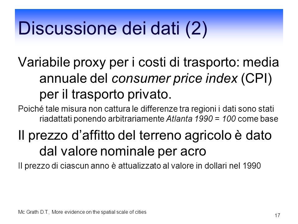 Discussione dei dati (2)