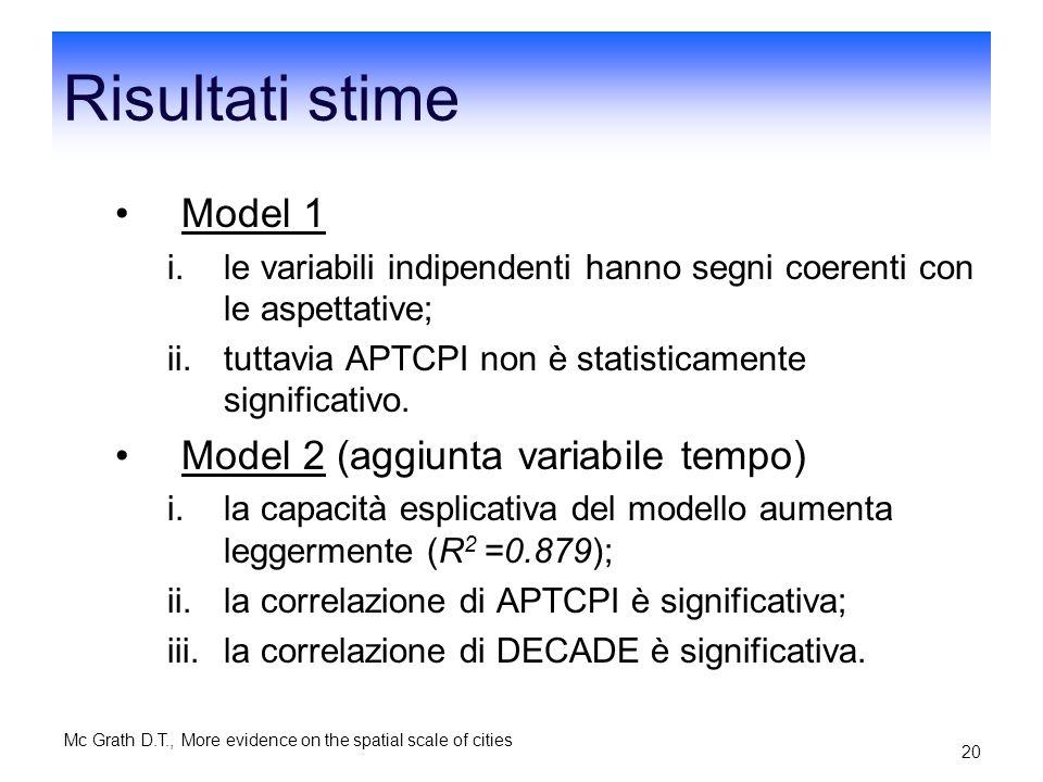 Risultati stime Model 1 Model 2 (aggiunta variabile tempo)