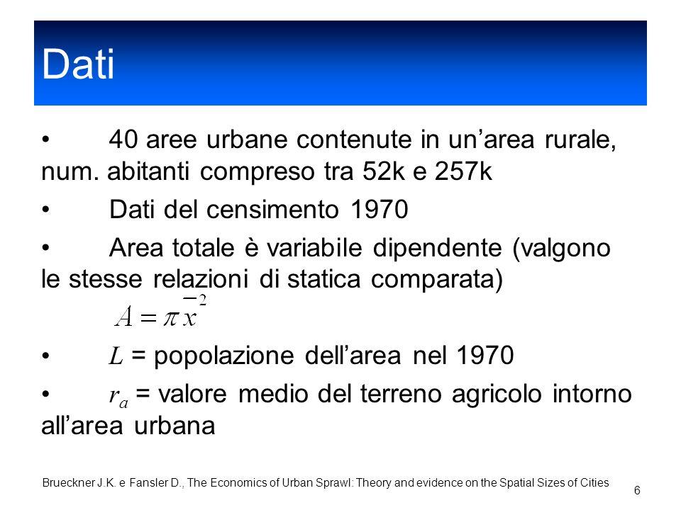 Dati 40 aree urbane contenute in un'area rurale, num. abitanti compreso tra 52k e 257k. Dati del censimento 1970.