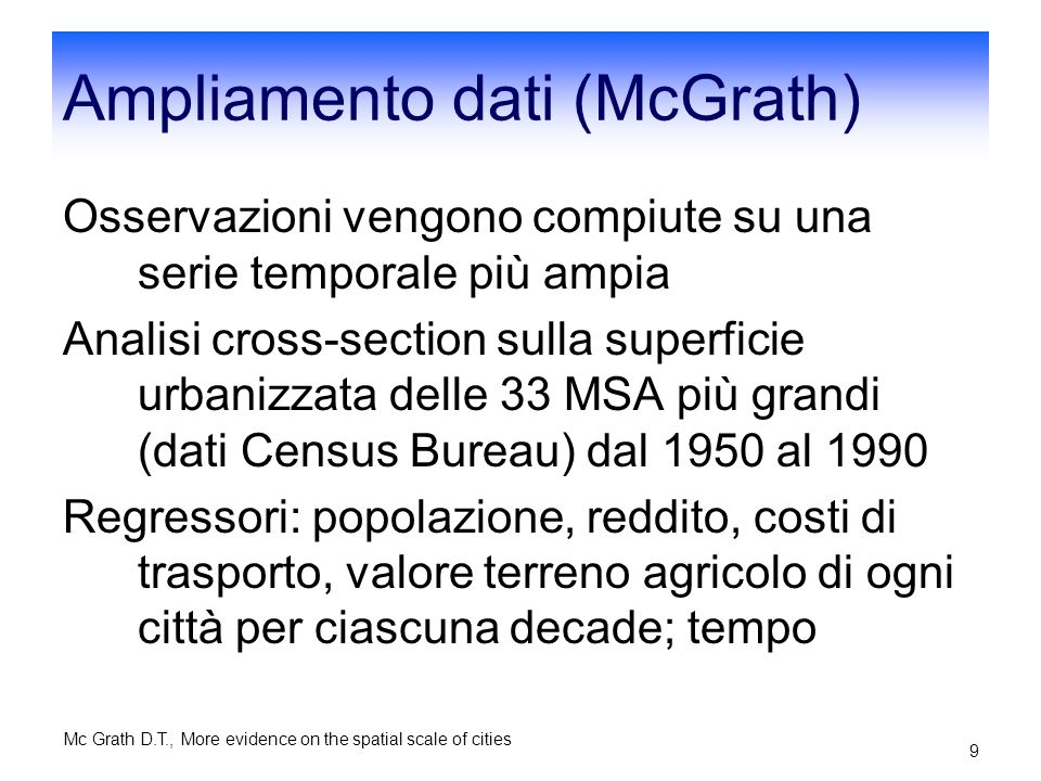 Ampliamento dati (McGrath)