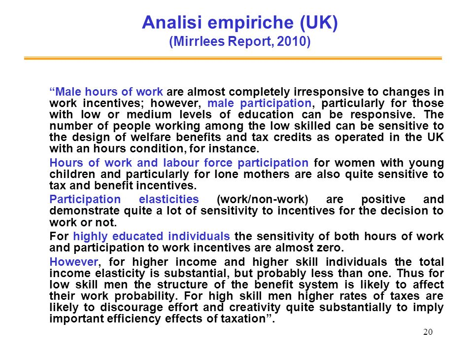 Analisi empiriche (UK) (Mirrlees Report, 2010)