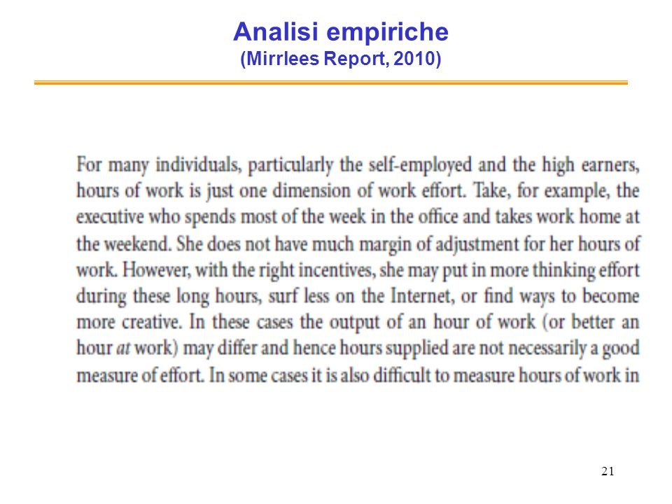 Analisi empiriche (Mirrlees Report, 2010)