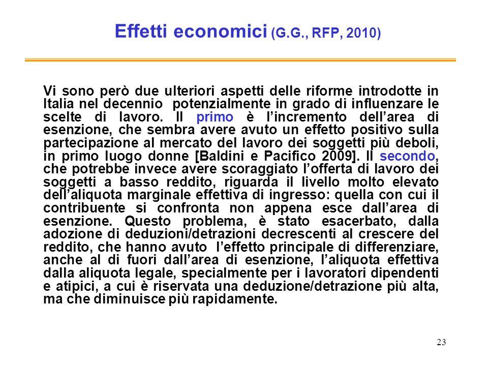 Effetti economici (G.G., RFP, 2010)