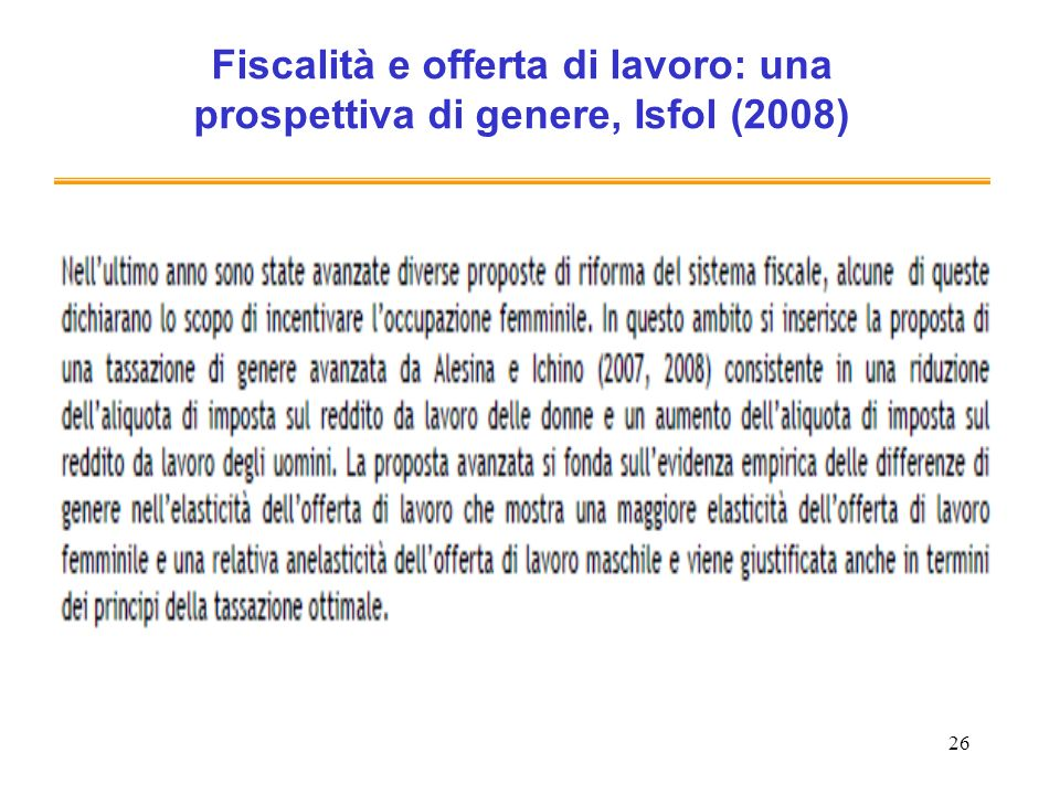 Fiscalità e offerta di lavoro: una prospettiva di genere, Isfol (2008)