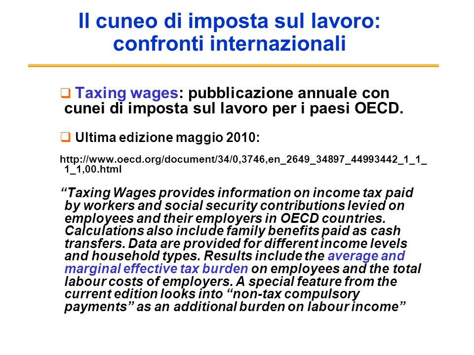 Il cuneo di imposta sul lavoro: confronti internazionali