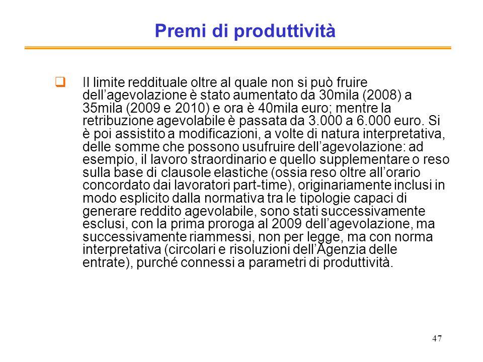 Premi di produttività
