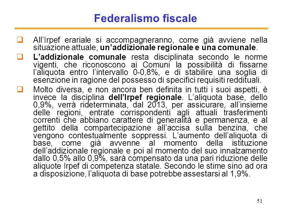 Federalismo fiscale All'Irpef erariale si accompagneranno, come già avviene nella situazione attuale, un'addizionale regionale e una comunale.