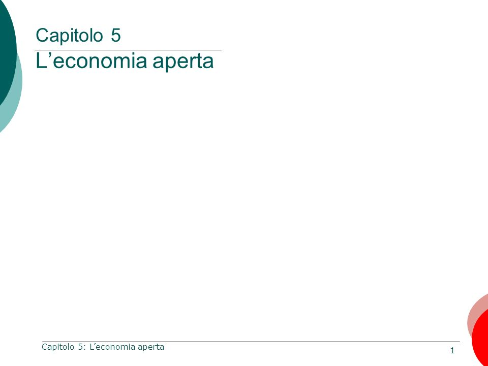 Capitolo 5 L'economia aperta