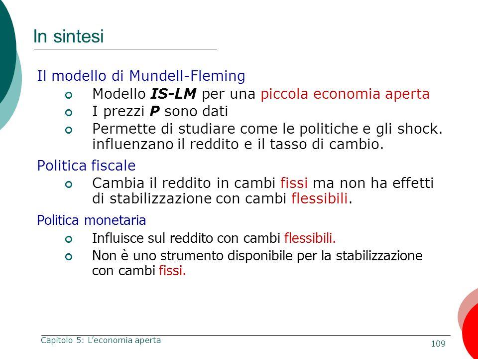 In sintesi Il modello di Mundell-Fleming