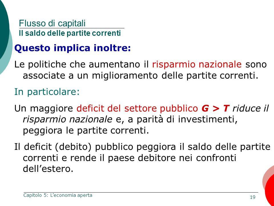Flusso di capitali Il saldo delle partite correnti