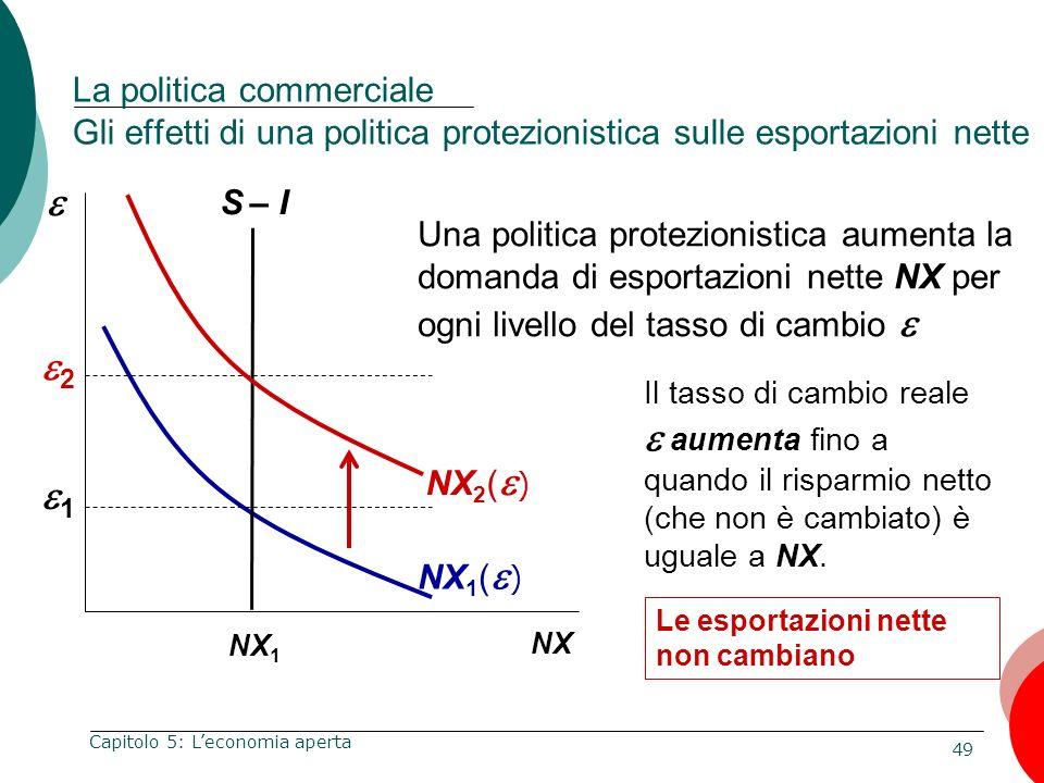 La politica commerciale Gli effetti di una politica protezionistica sulle esportazioni nette