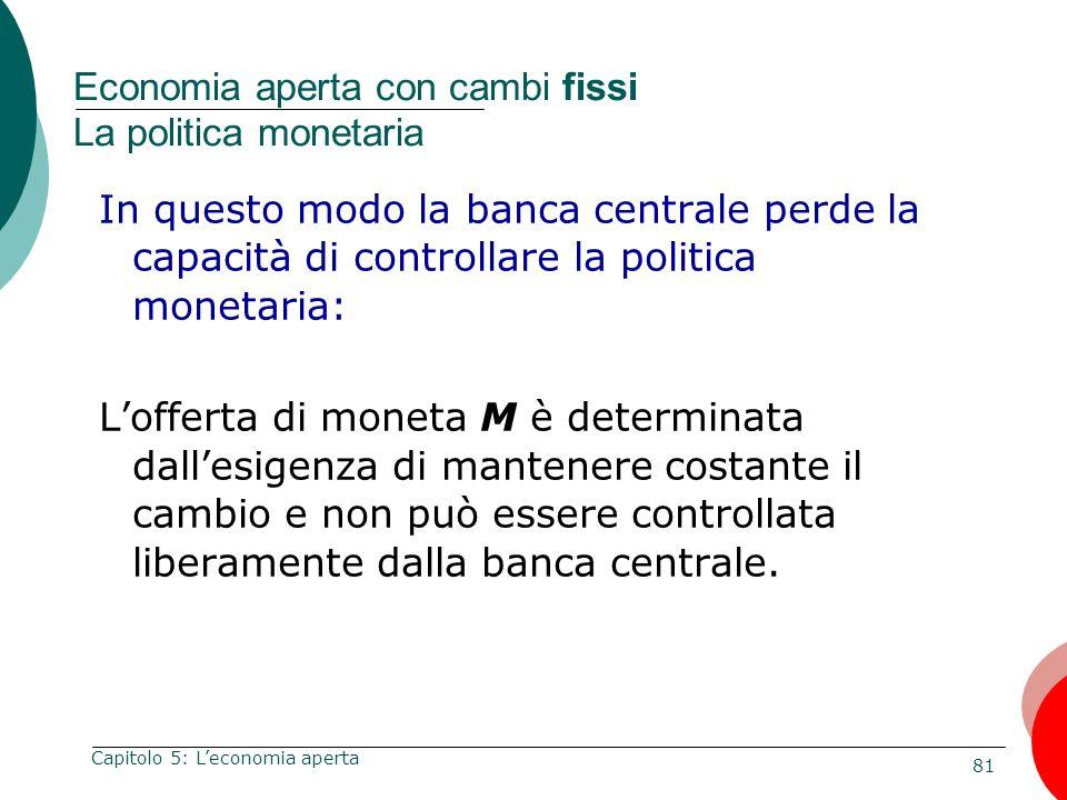 Economia aperta con cambi fissi La politica monetaria