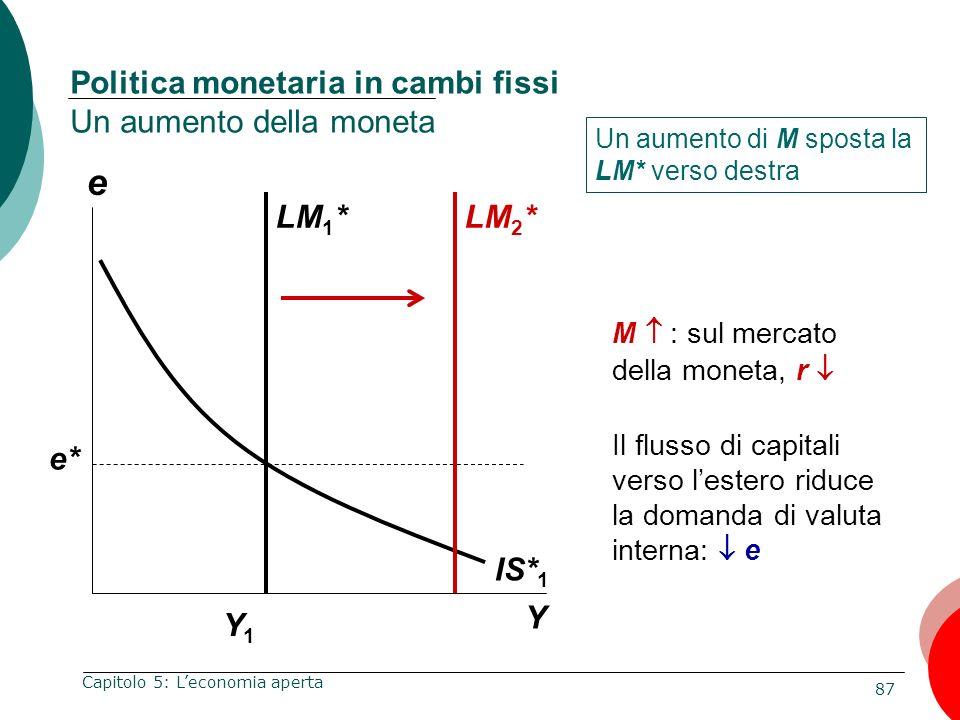 Politica monetaria in cambi fissi Un aumento della moneta