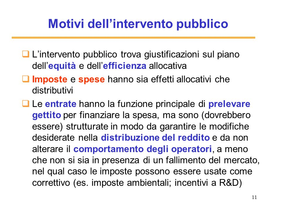 Motivi dell'intervento pubblico