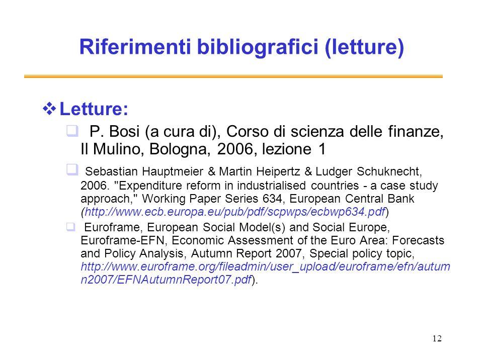 Riferimenti bibliografici (letture)