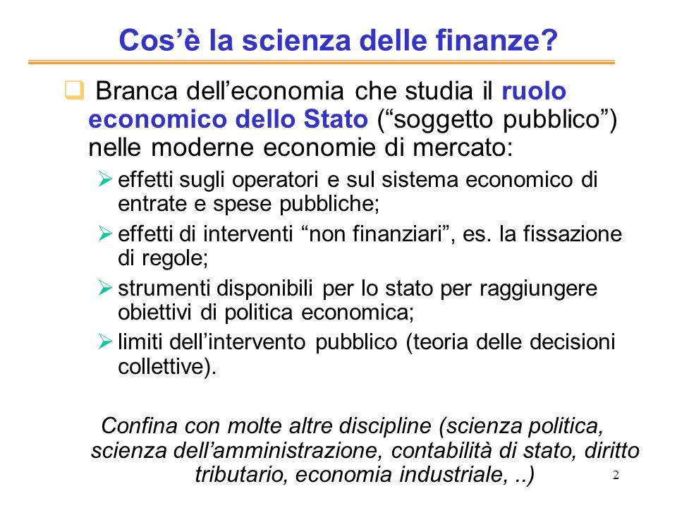 Cos'è la scienza delle finanze