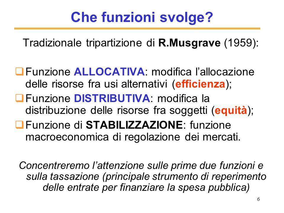 Tradizionale tripartizione di R.Musgrave (1959):