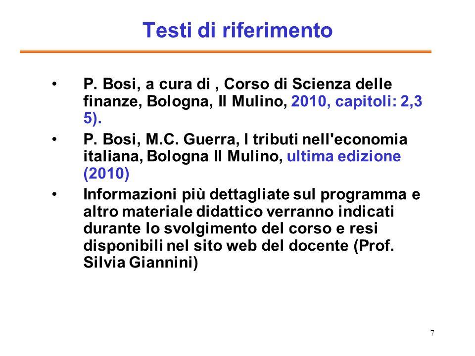 Testi di riferimento P. Bosi, a cura di , Corso di Scienza delle finanze, Bologna, Il Mulino, 2010, capitoli: 2,3 5).