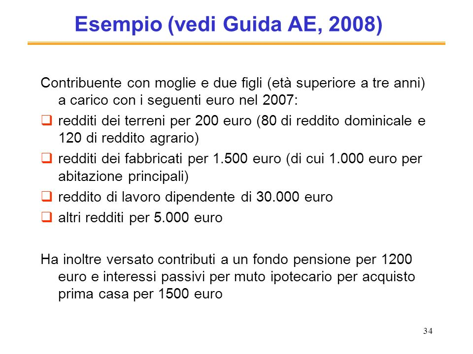 Esempio (vedi Guida AE, 2008)
