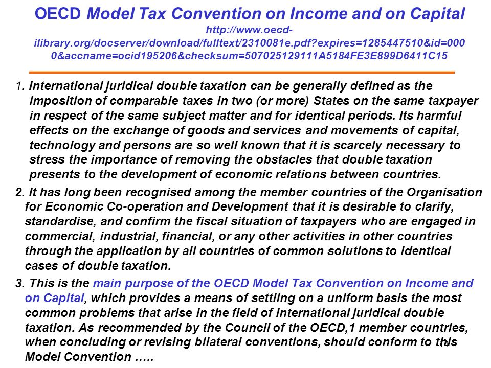 OECD Model Tax Convention on Income and on Capital http://www