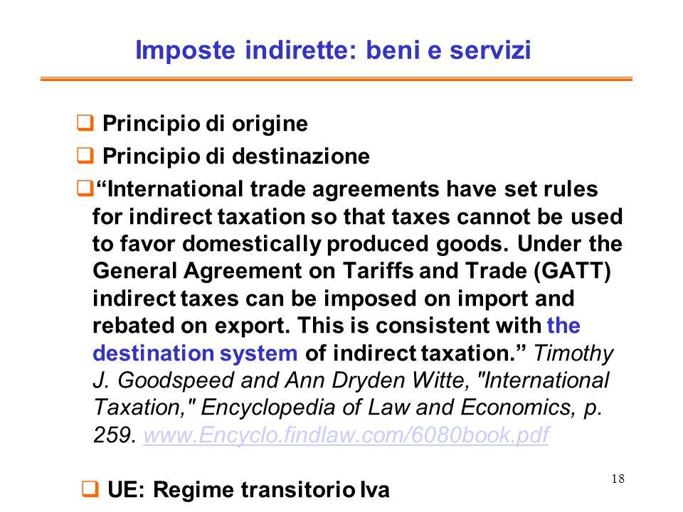 Imposte indirette: beni e servizi