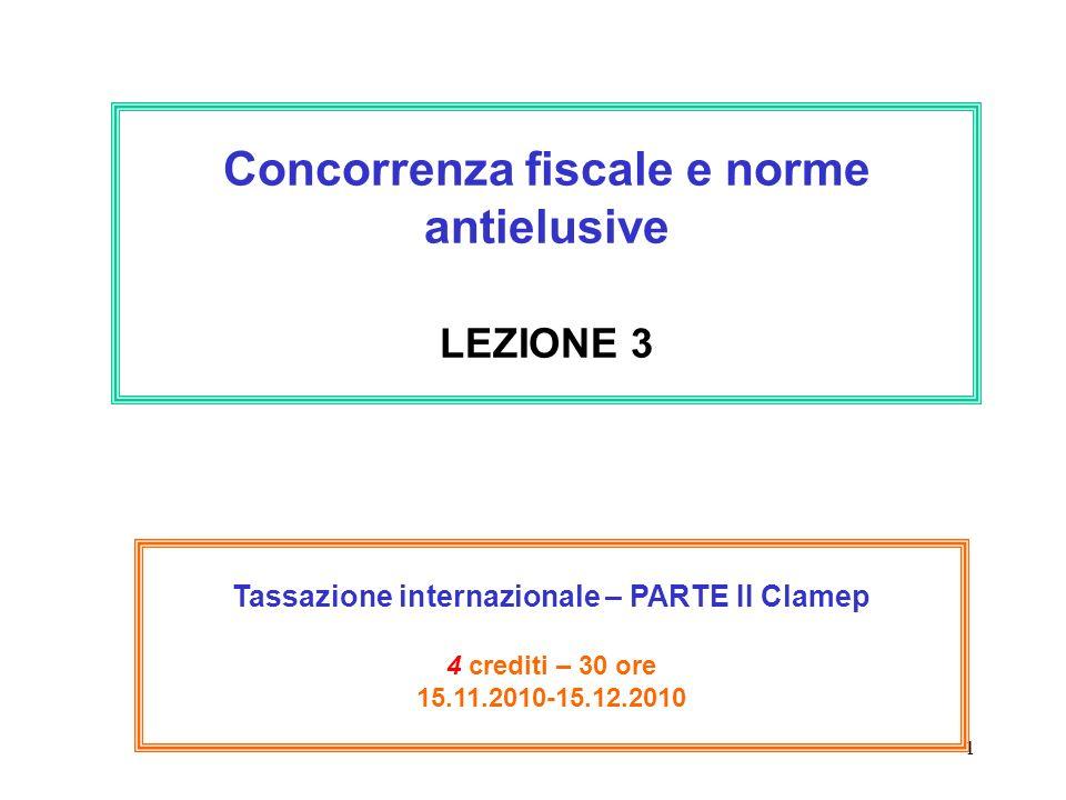 Concorrenza fiscale e norme antielusive LEZIONE 3