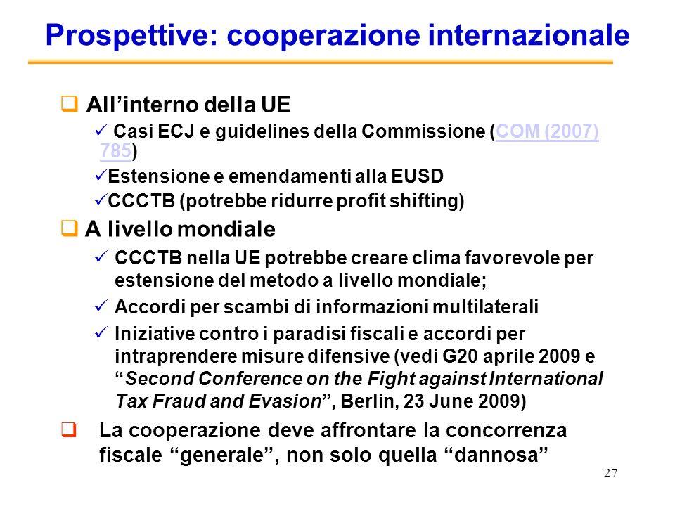 Prospettive: cooperazione internazionale